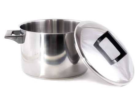 Saucepan (made of stainless stee) with stand cover, on white background.Isolated photo
