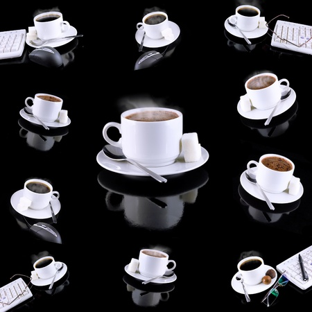 Collage (collection) of various coffee cups with coffee. photo
