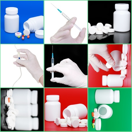 immunize: Collage of medicine- pills bottle,infusion set, hands with syringe . On colour background Stock Photo