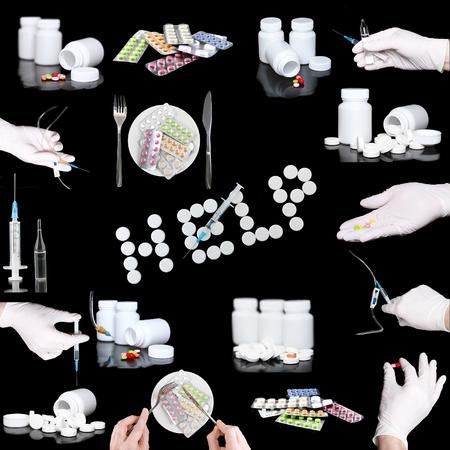 inoculate: Collage of medicine- pills bottle,infusion set, hands with syringe . On black background