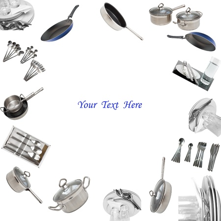 dinnerware: Collage of glasses, plates, dishware, utensil,pans. Isolated Stock Photo