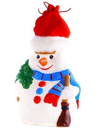 New Year decoration- snowman. Isolated over white photo