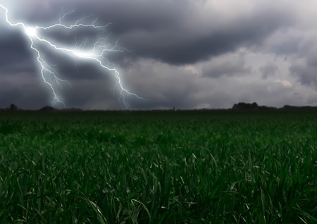 Lightning across the countryside field. Summer photo