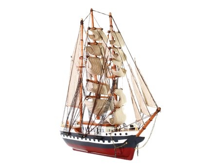 brigg: Model of sailing frigate. Isolated over white.