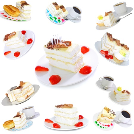 Collection-sponge cakes and eclair cake on plates with fruit juce spots. Isolated photo