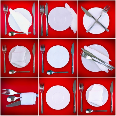 Composition of forks, knifes, spoons on red background. photo