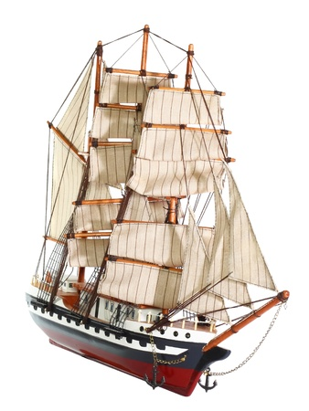Model of sailing frigate. Isolated over white. photo
