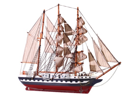 maquette: Model of sailing frigate. Isolated over white.