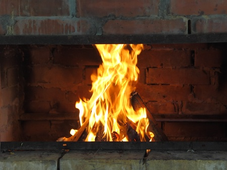 Cosy fireplace in outdoor back yard. Stock Photo