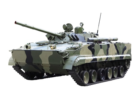 Militaru technics- tank. Isolated over whita background. photo