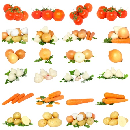 Collage of vegetables - tomato, onions, garlic, carrots and potato. Isolated photo