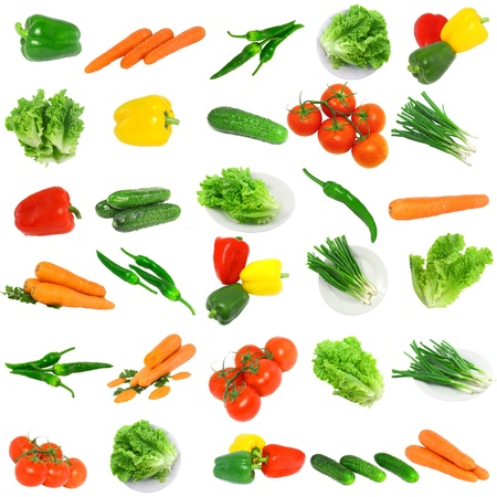 Collage of vegetables - tomato,carrots, sweet pepper, lettuce, young onion and cucumbers . Isolated photo