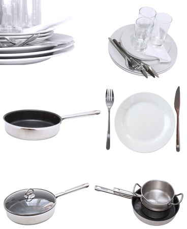 stemware: Collage of glasses, plates, dishware, utensil,pans. Isolated Stock Photo