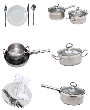 cooking utensils: Collage of glasses, plates, dishware, utensil,pans. Isolated Stock Photo
