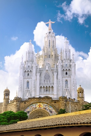 neogothic: Temple on mountain top - Tibidabo in Barcelona city. Spain