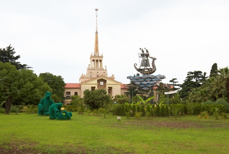 Park with playing bears near SeaPort in Sochi city. Capital of Olympic Game 2014 , Russia. photo