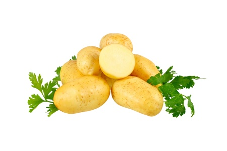 eyespot: Young potatoes, decorating of parsley . Isolated over white