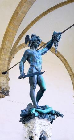 slaying: Statue of Perseus slaying Medusa - Loggia del Lanzi (Piazza della Signoria, Firenze, Italia) Stock Photo