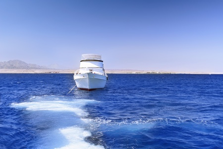 exotism: White Yacht in the Red Sea. Egypt. Stock Photo