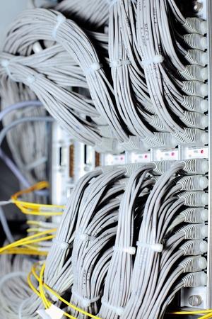 Telecommunication E1 line in a datacenter mobile operator. photo