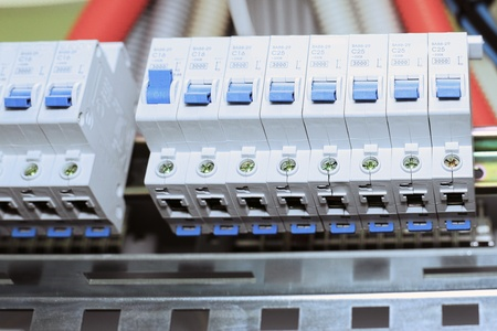 Telecommunication equipment, main power switch in a datacenter. photo