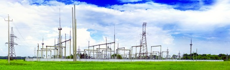 conductor electricity: The Substation and  Power Transmission Lines. Panorama Stock Photo