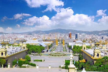 Placa De Espanya, Barcelona. View of Barcelona city from mountain top Tibidabo. photo