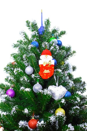 Christmas and New Year tree. Isolated over white photo
