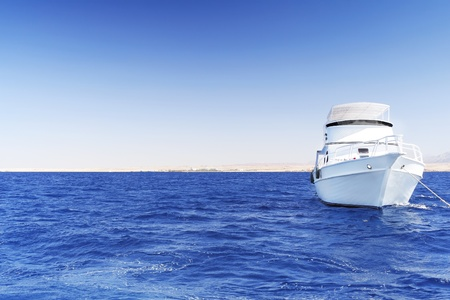 exotism: The white Yacht in the Red Sea. Egypt.