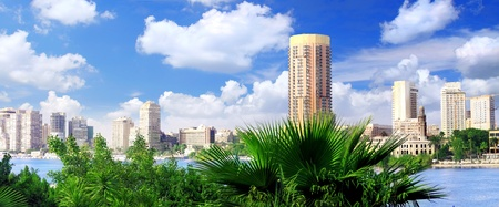 Cairo city, seafront of Nile River. Cairo, Egypt. photo