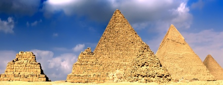Great Pyramids, located in Giza, the pyramid of Pharaoh Khufu, Khafre and Menkaure. Egypt. Panorama photo