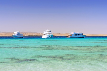 White Yacht in the Red Sea. Egypt. Stock Photo