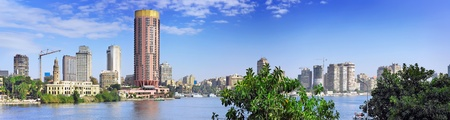 Panorama on Cairo, seafront of Nile River. Cairo, Egypt. photo
