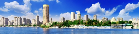 city panorama: Panorama on Cairo, seafront of Nile River. Cairo, Egypt.