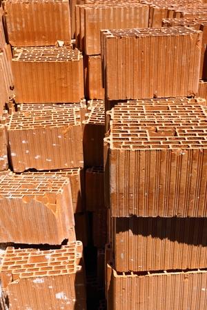 Heap of bricks. On construction of building. photo