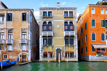 old building facade: Beautiful water street - Grand Canal in Venice, Italy