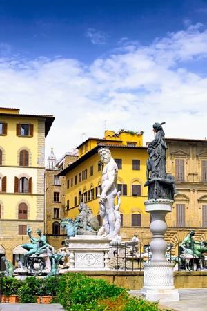Fontana del Nettuno - Neptun fontain - near Palazzo Vecchio, Florence, Italy photo