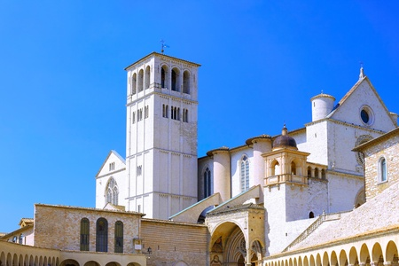 crenellated: City cview of Assisi. Umbria region . Italy Stock Photo