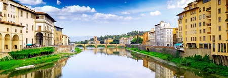 Arno river in Florence (Firenze), Tuscany, Italy. Panorama photo