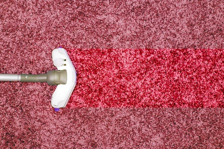 carpet clean: The metal pipe of vacuum cleaner in action - clean stripe on the carpet.