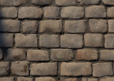 Texture of cobblestone background in the city. photo