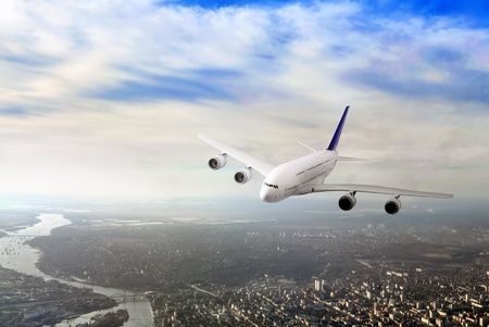 avia: Modern airplane  in the sky near Airport. Approach