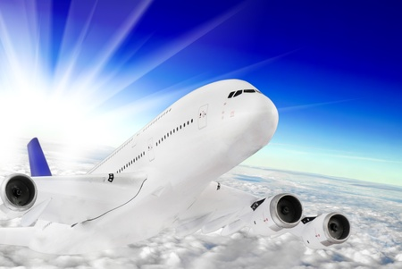 airbus: Modern airplane  in the sky near Airport  Approach Stock Photo