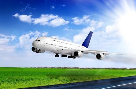 jetliner: Modern airplane  in  Airport  Take off on runway
