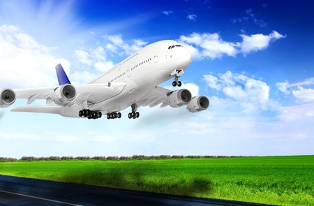 Modern airplane  in  Airport  Take off on runway