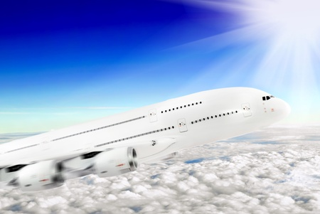 Modern airplane  in the sky near Airport. Approach Stock Photo - 12989312