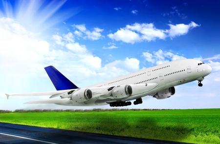 Modern airplane  in  Airport. Take off on runway. Stock fotó - 12989481