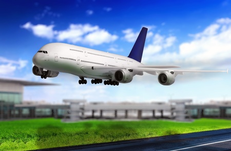 Modern airplane in Airport. Take off on runway.