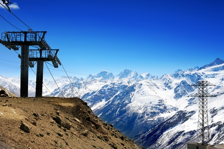 Wonderful view of the cableway in the mountains. Elbrus  photo