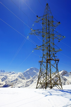 Power line high in the mountains. Elbrus  Stock Photo - 13553963